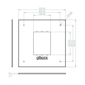 Dimensiones frente 52cm x 52cm